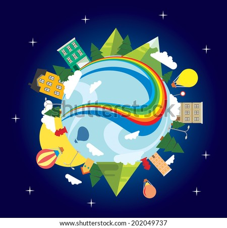 Vector graphic illustration of a cityscape with a rainbow, trees and houses - stock vector