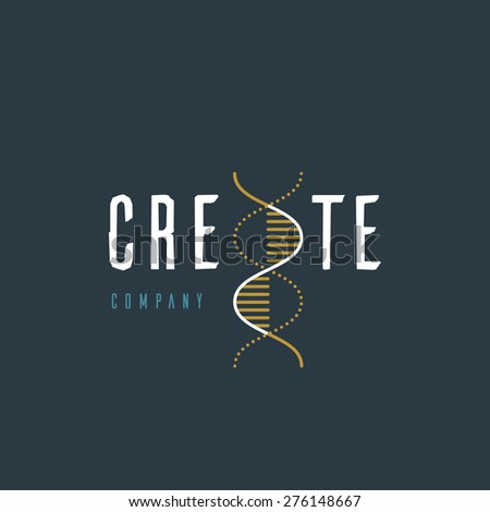 Vector graphic illustration of a DNA symbol with sample text for your company - stock vector