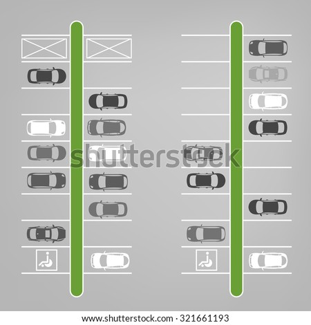 Vector graphic illustration of a top view car abstract parking lot scheme. Editable automotive collection in a flat simple style. - stock vector