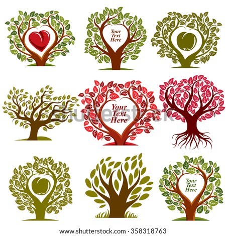 Vector graphic illustration of trees with red heart and empty copy space, You are free to write your text here. Eco botany single elements collection isolated on white background. - stock vector