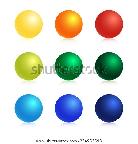 vector graphic illustration set 3d colorful ball icons - stock vector