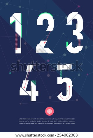 Vector graphic numbers in a set. Contains vibrant colors and minimal design on a blue abstract background. - stock vector