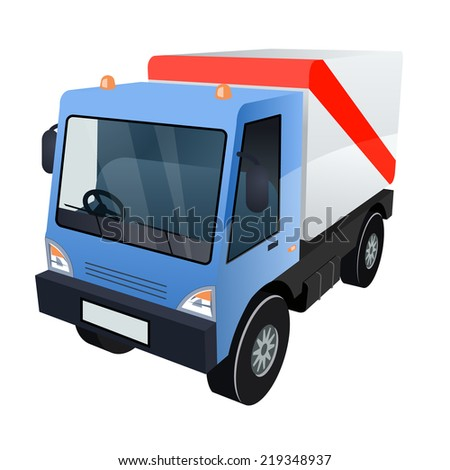 Vector Graphic of Blue Cargo Truck with Red Stripe on White Background - stock vector