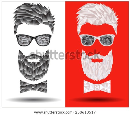 Vector graphic polygon face of hipster in sunglasses with beard and bow-tie - stock vector