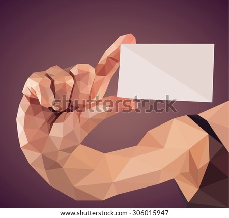 Vector graphic polygonal illustration of a hand holding a business card - stock vector