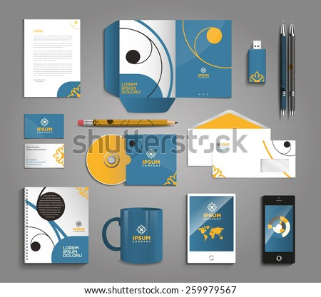 Vector graphic professional identity design for your company in vibrant colors - stock vector