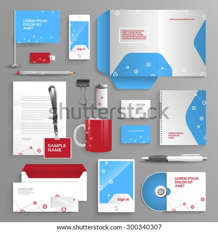 Vector graphic professional identity for your company, in vibrant colors, with useful elements - stock vector