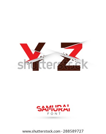 Vector graphic samurai themed cutted alphabet in a set - stock vector