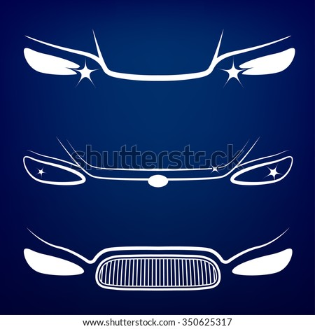 Vector graphic set of car head lights isolated icons. Editable illustration. Automotive collection in white color on a dark blue background. - stock vector
