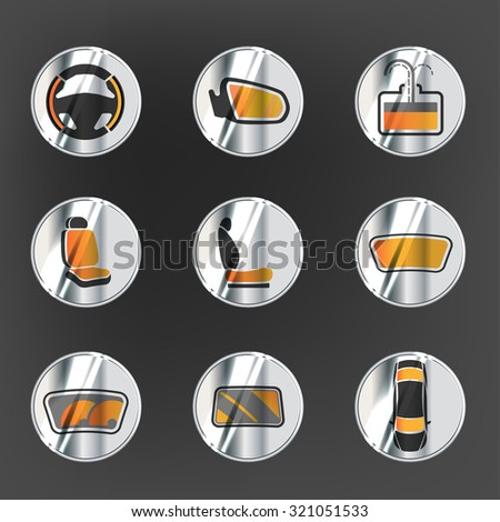 Vector graphic set of car heating pack isolated icons. Editable illustration. Metallic automotive collection in grey and orange colors. Silver buttons style. - stock vector