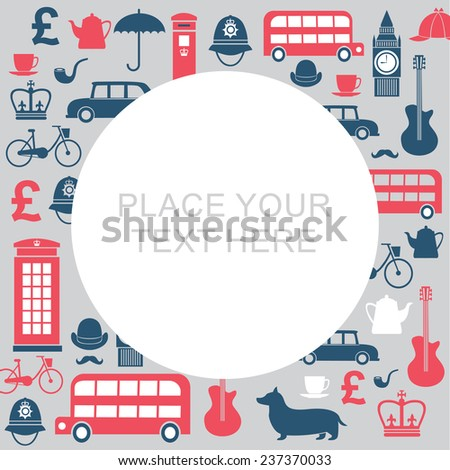Vector graphic set of great britain symbols with copy space - stock vector