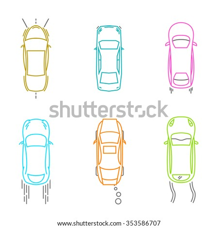 Vector graphic set of top view car abstract silhouettes. Editable multicolored illustration in blue, violet and red tints isolated on white background. Automotive creative collection. - stock vector