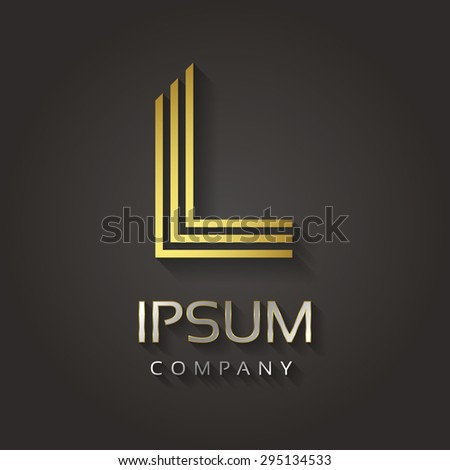Vector graphic striped golden alphabet with sample text for your company letter - L - stock vector