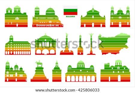 Vector graphic symbols of Bulgaria. Map of Bulgaria. - stock vector