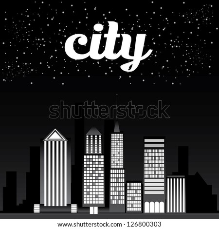 Stock vector vector graphical urban cityscape vector night city