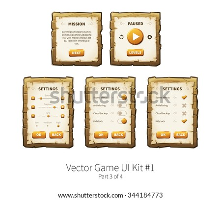 Vector graphical user interface (UI GUI) kit for 2d video games. Wooden menu, panels and buttons for menu. - stock vector