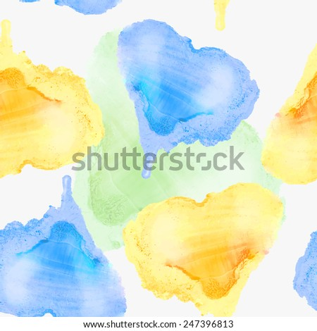Vector graphics, artistic, stylized seamless pattern  background watercolor hearts. Symbol of Ukraine. Pattern and  background are on separate layers. - stock vector