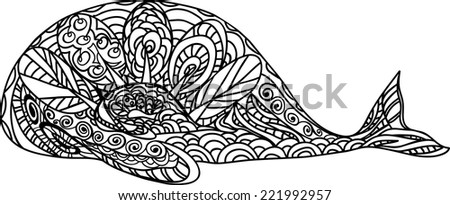 vector graphics of decorative whale - stock vector