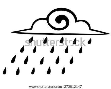 Vector graphics. Sketch. rain clouds on a white background. icon - stock vector