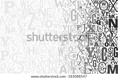 Vector Gray Alphabet Background from different shapes letters - stock vector