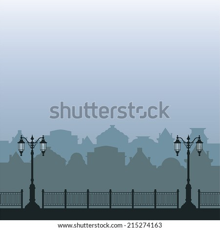 Vector gray-blue morning city with street lights and fence - stock vector