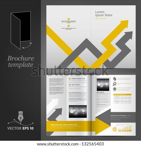 Vector gray brochure template design with arrows. EPS 10 - stock vector