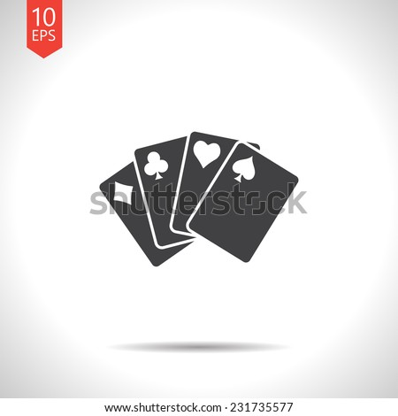 Vector gray flat isolate game cards icon. Eps10 - stock vector