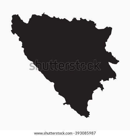Vector gray map Bosnia & Herzegovina. Isolated vector Illustration. Black on Grey background. EPS Illustration. - stock vector