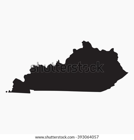 Vector gray map Kentucky. Isolated vector Illustration. Black on Grey background. EPS Illustration. - stock vector