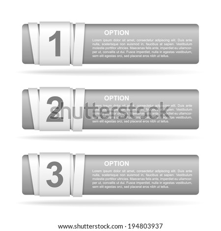vector gray paper option labels with number of option on ribbon - stock vector