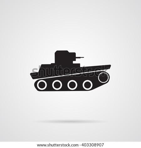 Vector Gray Tank Icon over light gray background.  - stock vector