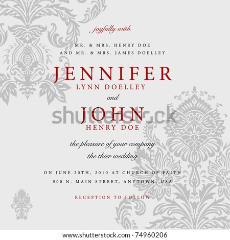 Vector Gray Victorian Background with Red Accent. Easy to edit. Perfect for invitations or announcements. - stock vector