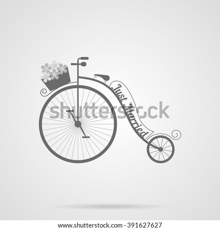 Vector Gray Wedding Retro Bicycle Flat Icon over light gray background. Simple element for your wedding designs, wedding business projects, logo, and other your projects - stock vector