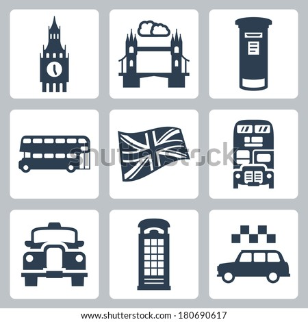Vector Great Britain, London icons set - stock vector