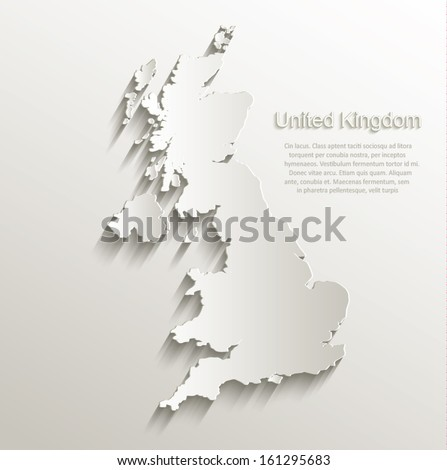 vector Great Britain United Kingdom map card paper 3D natural - stock vector