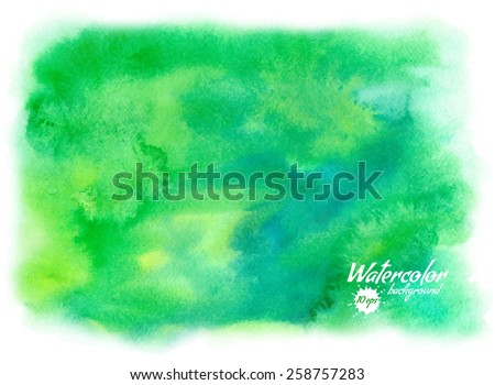Vector green abstract hand drawn watercolor background for your design - stock vector
