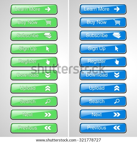 Vector green and blue buttons for website or app. Button - Buy now, Subscribe, Sign Up, Register, Download, Upload, Search, Next, Previous, Learn More - stock vector
