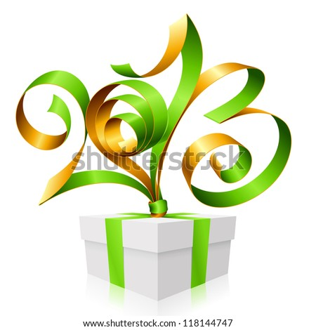 Vector green and gold ribbon in the shape of 2013 and gift box. Symbol of New Year - stock vector