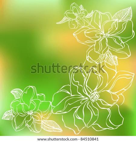 Vector green and orange flower background - stock vector