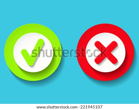 Vector green and red check marks - stock vector