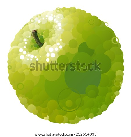 Vector green apple that consists of circles - stock vector