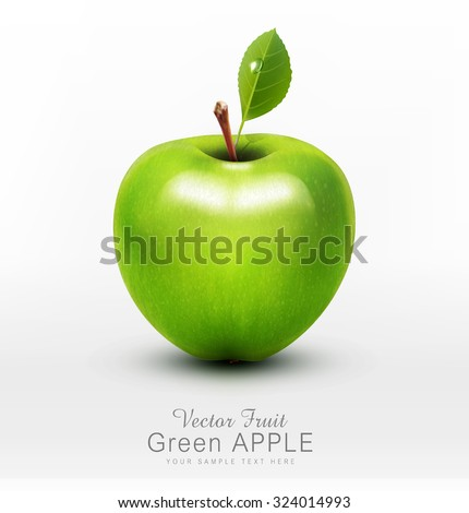 vector green apple with green leaf isolated on a white background - stock vector