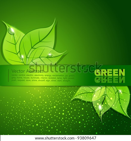 vector green background with  leaves and drops of dew - stock vector