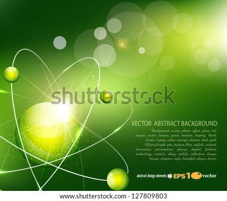vector green  background with the atom - stock vector