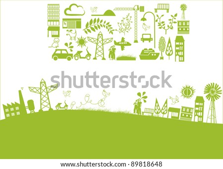 vector - green banner with houses and nature elements - stock vector