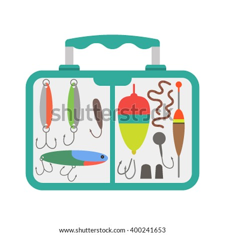 vector green blue slim design fishing tackle box transparent illustration isolated white background - stock vector