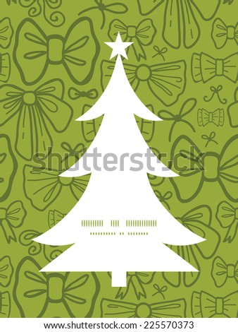Vector green bows Christmas tree silhouette pattern frame card template - stock vector
