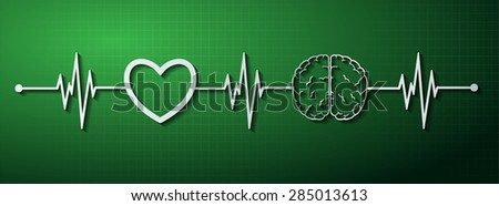 vector green brain processes technology, creative idea concept. wave. ECG, EKG, electrocardiogram. pulse heart - stock vector