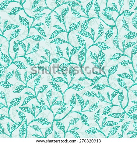 Vector green branches texture seamless pattern background - stock vector