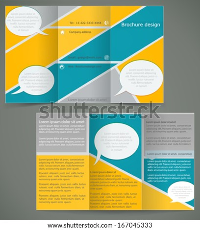 Vector green brochure layout design with yellow elements, business three fold flyer template - stock vector